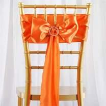 Efavormart 25pcs Orange Satin Chair Sashes Tie Bows for Wedding Events Decor Chair Bow Sash Party Decoration Supplies 6 x106