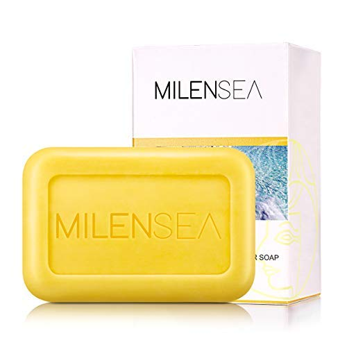 MILENSEA CleoQueen Dead Sea Sulfur Soap, Natural Acne Treatment Face Bar Soap for Acne, Bedbugs, Oily Skin, Mites, Antimicrobial - With Custom Holder Case & Foaming Pouch - 4.4 OZ (125g)