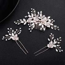 Crystals Bridal Wedding Jewelry Hair Accessories (Rose gold), Wedding Clip Rhinestone Bridal Comb Barrette - Handmade Flower Clip Head Pieces for Women