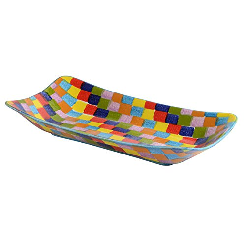 Colorful Large Rectangular Platter - Rainbow Colors Dinnerware & Kitchen Décor - Handmade in Italy from Our Modigliani POP Check Collection