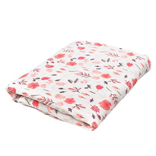Oliver & Rain Girl Organic Muslin Swaddle Baby Blanket, Pink Floral