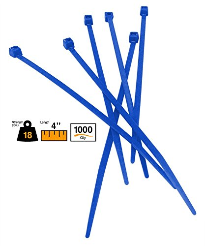 """BuyCableTies 4"""" Miniature Style Indoor Cable Ties - 18 lb Rated - Made in USA - Blue - 1000 per bag"""