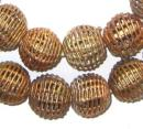 Round Brass Filigree Beads - Full Strand of Fair Trade African Metal Beads - The Bead Chest (20mm, Fully Weaved)