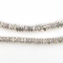 Metal Faceted Square Beads - Full Strand of Ethnic Spacer Sliced Heishi Beads - The Bead Chest (4mm, Silver)