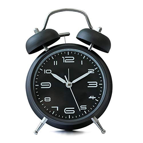 4 inches Twin Bell Alarm Clock with Backlight,Silent Non-Ticking,Battery Operated,Loud Wake Up Alarm Clock