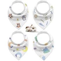 Bandana Drool Bib-Organic Cotton Baby Teething Bib for Boys&Girls, Soft and Super Absorbent, 4 Pack
