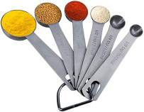 Stainless Steel Measuring Spoons, Set of 6 for Measuring Set with D-Ring Holder, Dry and Liquid Ingredients (6, sliver)