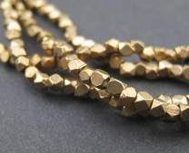 Cornerless Cube Beads - Full Strand of Faceted Ethnic Metal Spacers - The Bead Chest (2mm, Antiqued Brass)