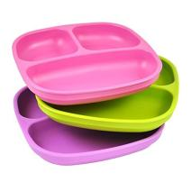Re-Play 3pk Divided Plates with Deep Sides for Easy Baby, Toddler, Child Feeding - Bright Pink, Lime Green, Purple (Butterfly)