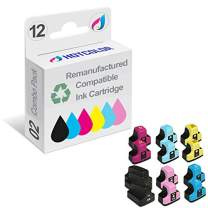 HOTCOLOR Remanufactured Ink Cartridge Replacement for HP 02 Work for HP PhotoSmart D7260 D7460 D7255 D7263 D7268 D7155 Printer (Black, Cyan, Magenta, Yellow, Light Cyan, Light Magenta, 12-Pack)