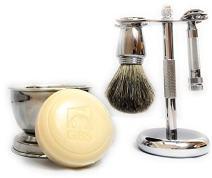 G.B.S 5-Piece Chrome Shaving Set- #178 Safety Razor, Brush, Razor/Brush Stand, Soap Bowl & Shave Soap