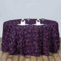 """BalsaCircle 120"""" Eggplant Purple Satin Raised Rosettes Round Tablecloth Wedding Party Dining Room Table Linens"""