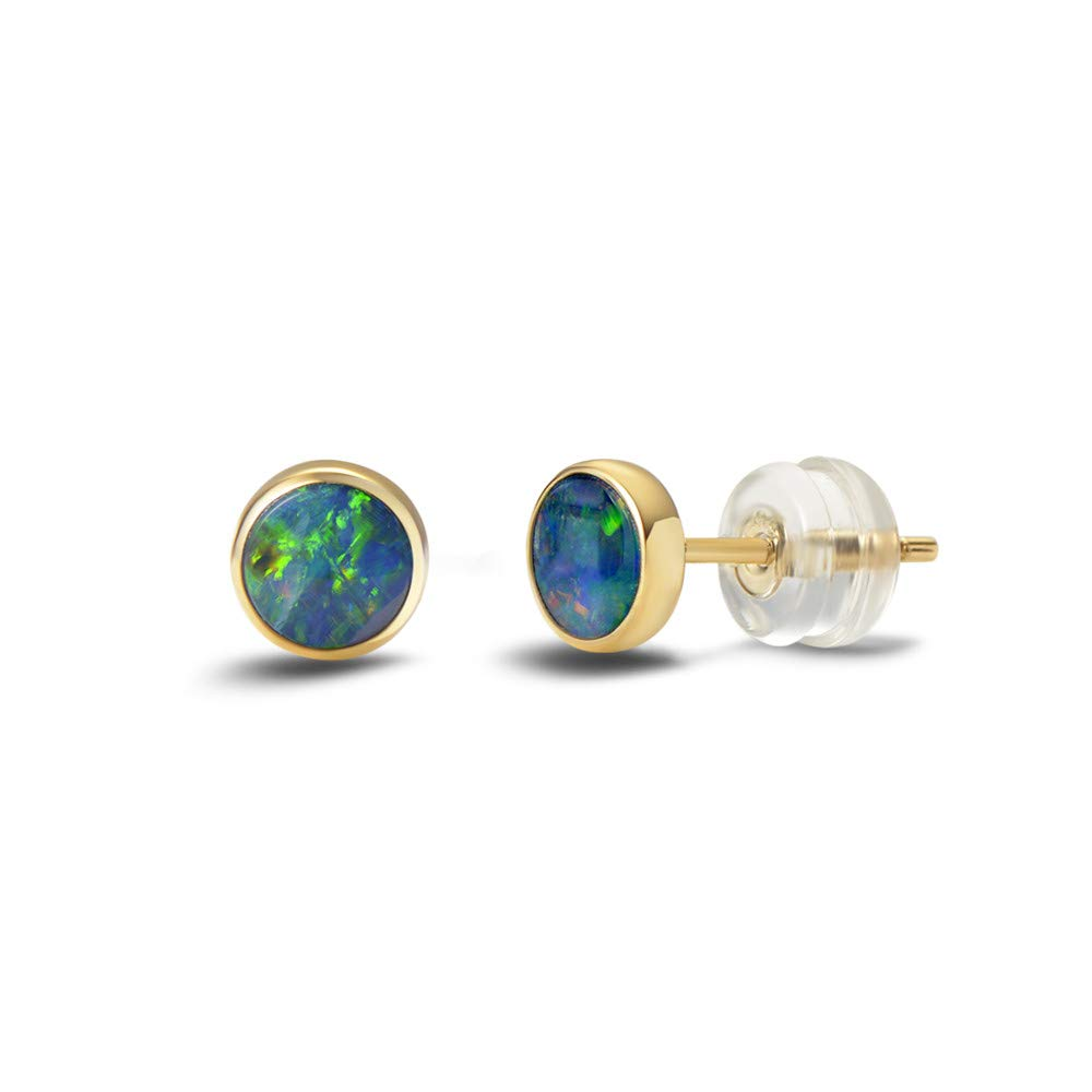 Agvana Mother's Day Gifts 18K Solid Yellow Gold Au750 Real Genuine Natural Fire Opal Small Stud Earrings for Mom Grandma October Birthstone Tiny Fine Jewelry for Women Girls Her, Diameter 1/5 Inch