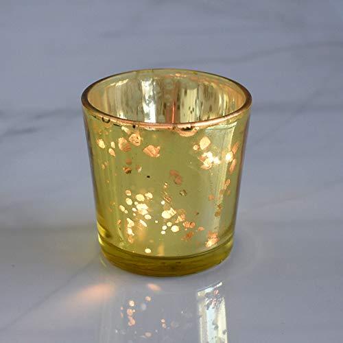 Luna Bazaar Vintage Mercury Glass Candle Holders (2.5-Inch, Lila Design, Liquid Motif, Gold)