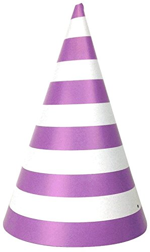 Just Artifacts 12pc Childrens Party Cone Hats (Striped, Lavender)