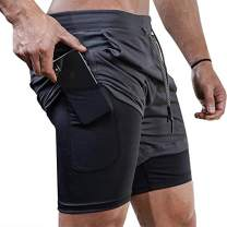 "Surenow Mens Running Shorts Gym 2 in 1 Sports 7"" Shorts Breathable Outdoor Workout Training Shorts with Pockets Grey"