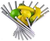 LANDTOM Creative Stainless Steel Rotation Fruit Bowl/Fruit Basket/Fruit Stand/Fruit Holder with Free Orange Peeler, Silver