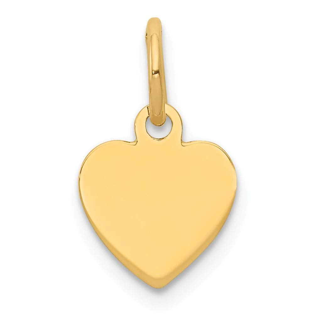 14k Yellow Gold .009 Gauge Engravable Heart Disc Pendant Charm Necklace Simple Shaped Plain Fine Jewelry For Women Gifts For Her