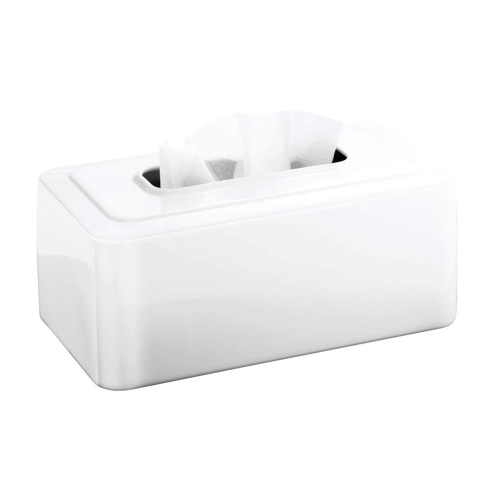 """iDesign Olivia Metal Facial Tissue Box Cover, Boutique Container for Bathroom Vanity Countertops, 10.2"""" x 5.54"""" x 4.26"""", White"""