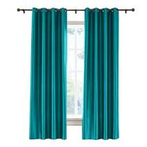 """cololeaf Vintage Textured Faux Dupioni Silk Curtain Single Panel for Bedroom Living Room,Antique Bronze Grommet, Peacock 120"""" Wx96 L Inch (1 Panel)"""
