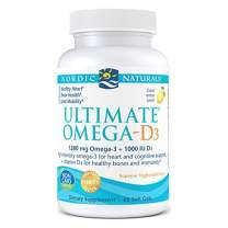 Nordic Naturals Ultimate Omega-D3, Lemon Flavor - 1280 mg Omega-3 + 1000 IU Vitamin D3 - 60 Soft Gels - Omega-3 Fish Oil - EPA & DHA - Promotes Brain, Heart, Joint, & Immune Health - 30 Servings