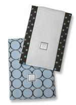SwaddleDesigns Baby Burpies, Set of 2 Cotton Burp Cloths, Brown Mod Circles on Pastel Blue