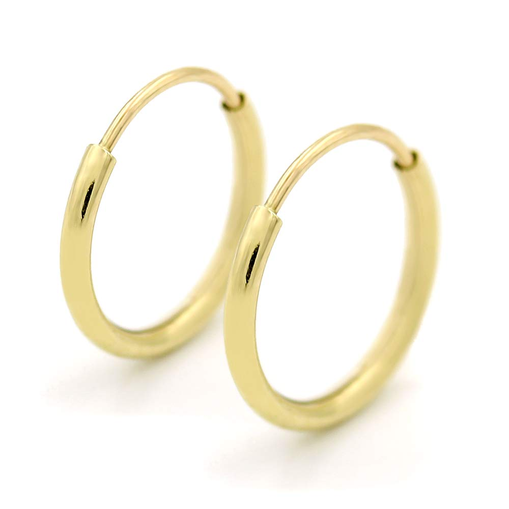 14K Gold Endless Hoop Earrings, 10mm, 12mm, 14mm, 16mm, 18mm, 20mm, Small Yellow 1mm Thin, for Ear Nose Cartilage Helix Tragus Lip, Giorgio Bergamo