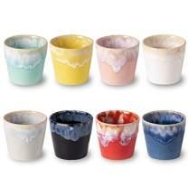 COSTA NOVA Stoneware Ceramic Dish Grespresso Collection Espresso Cups 8-Piece Set, 3 oz (Multicolor)