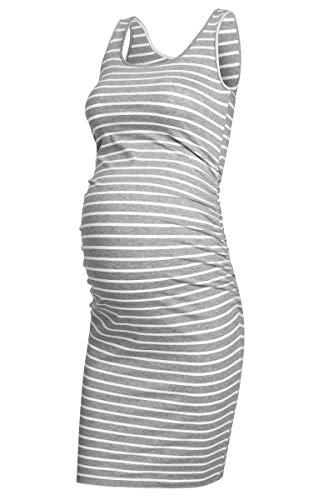 AMPOSH Women's Maternity Tank Dress, Casual Ruched Bodycon Pregnancy Dress for Photoshoot and Daily Wear(Gray & White Stripes, S)