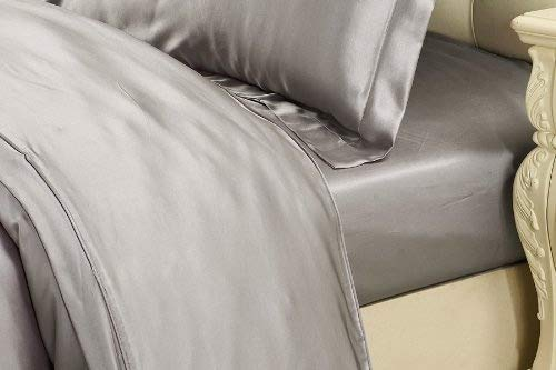 LilySilk Grey Silk Fitted Sheet Deep 19 Momme Real Mulberry Silk Queen 60x80+16 Inch,Silvergray