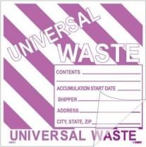 National Marker Corp. HW31SL5 Self-Laminating Labels, Universal Waste W/Purple Stripes, 6 Inch X 6 Inch, PS Vinyl, 5/Pk