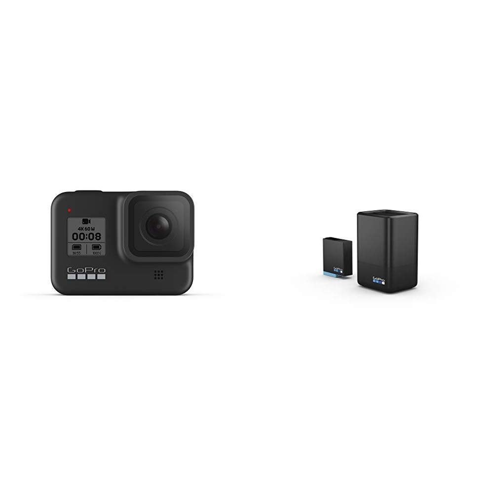 GoPro HERO8 Black Waterproof Action Camera with Touch Screen & GoPro Dual Battery Charger + Extra Battery Bundle
