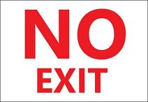 "ZING 2886S Eco Safety Sign,""No Exit"", 10"" Height x 14"" Width, Recycled Polystyrene Self Adhesive, Red on White"