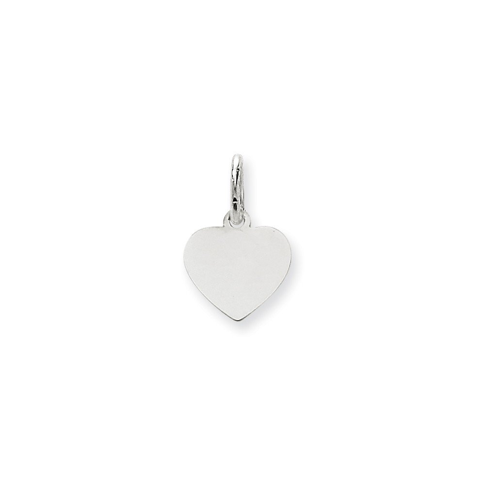 14k White Gold .013 Gauge Engravable Heart Pendant Charm Necklace Disc Simple Shaped Plain Fine Mothers Day Jewelry For Women Gifts For Her