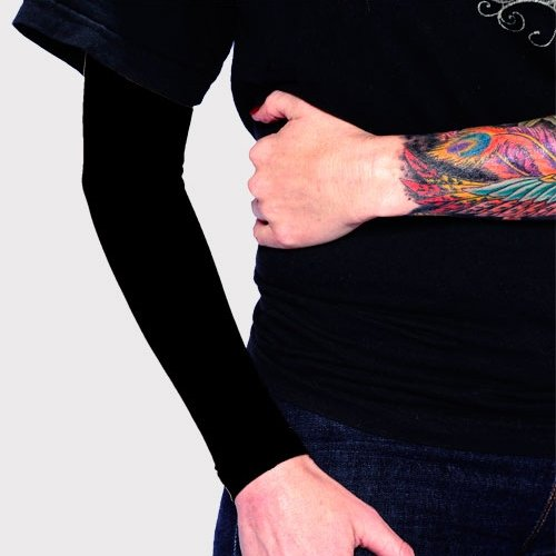 Tat2X Ink Armor Premium Full Arm Tattoo Cover Up Sleeve - No Slip Gripper - U.S. Made - Black - ML (one Sleeve)