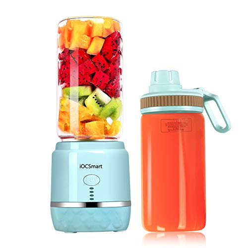 Mini Portable Eletric Personal Blender with 2 Juicer Cup, USB Rechargeable Smart Smoothie Maker Juicer Blender for Shakes Baby Food Mixing Machine with High Borosilicate Glass (Blue)