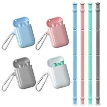Collapsible Reusable Straws with Case 4 Pack Food-Grade Silicone Portable Drinking Straw Foldable Straws with Cleaning Brush for Travel Home Office
