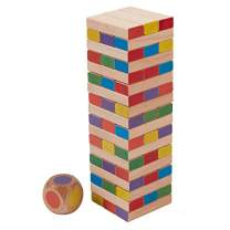 """ECR4Kids Risky Rainbow Tumble Tower for Kids, Wood Stacking Block Game with Colorful Dice and Storage Bag, Junior 10"""" Tall (54-Piece Set)"""
