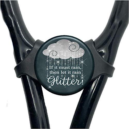 Stethoscope Name Tag - Let it Rain Glitter Customized Yoke Name Plate - Nurse Gift