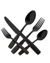 HOFTEN Black Silverware, Matte Black Silverware Set, 20 Piece Satin Finish Stainless Steel Flatware Set For 4, Include Fork Spoon Knife, Utensils for Daily Use and Party, Anti Rust, Safe In Dishwasher