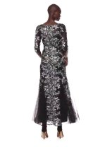 Alex Evenings Women's Long V-Neck Fit and Flare Dress Lace
