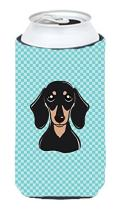 Caroline's Treasures BB1153TBC Checkerboard Blue Smooth Black and Tan Dachshund Tall Boy Beverage Insulator Hugger, Tall Boy, multicolor