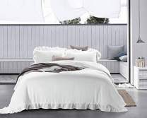 meadow park Stone Washed French Linen Duvet Cover Set 3 Pieces - Super Soft, King Size 104 inches x 94 inches, Shams 20 inches x 36 inches, Ruffled Style - Button Closure - Corner Ties, White