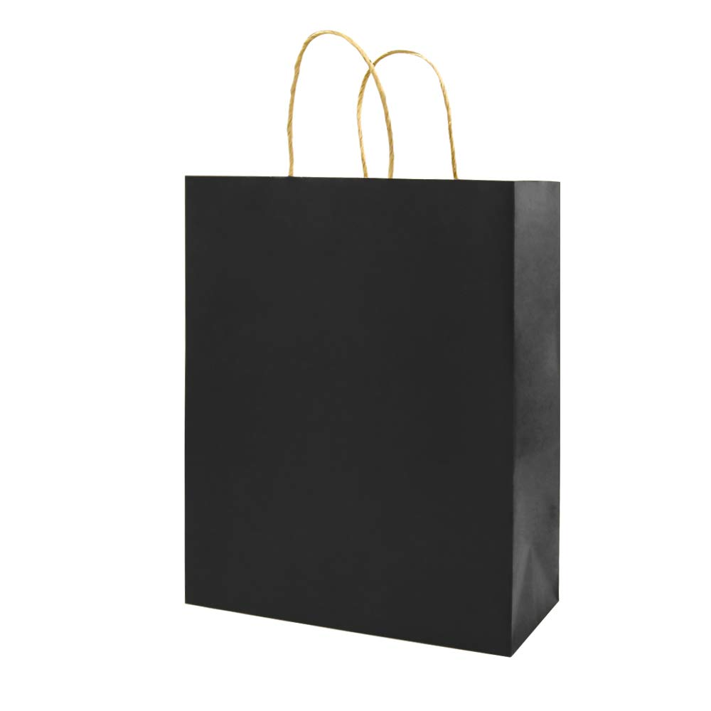 Small Black Kraft Paper Bags with Handles Bulk, Bagmad Gift Bags 5.25x3.25x8 inch 100 Pcs Pack, Craft Grocery Shopping Retail Party Wedding Bags Sacks (Black, 100pcs)