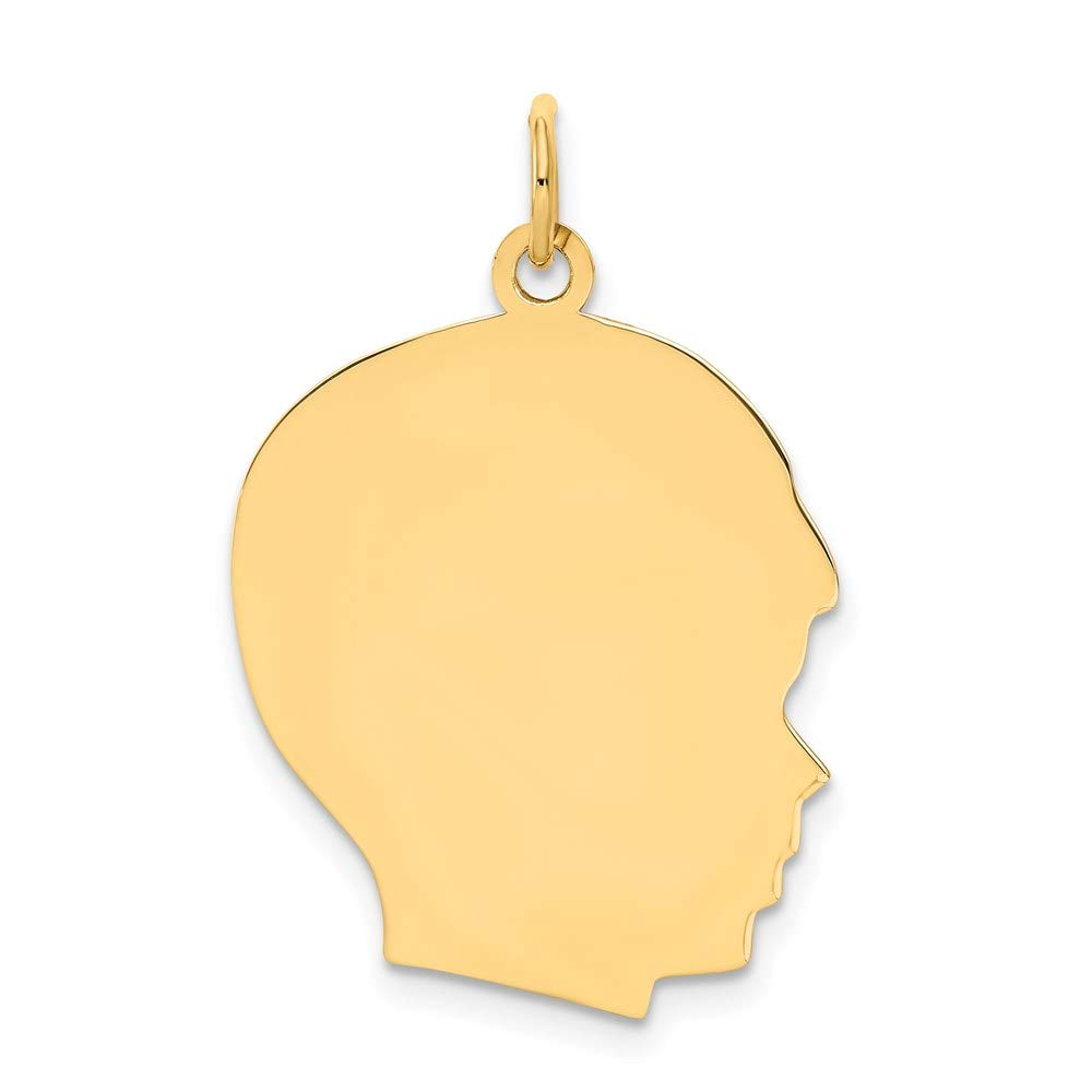 10k Yellow Gold Large .013 Gauge Facing Right Engravable Boy Head Pendant Charm Necklace Disc Girl Fine Mothers Day Jewelry For Women Gifts For Her