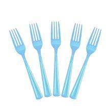 Exquisite Solid Color Premium Plastic Cutlery, Heavy Duty Plastic Disposable Forks - 50 Count - Light Blue