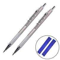 Eshylala 2.0 mm Lead Holder Metal Mechanical Pencil Automatic Mechanical Drafting Pencil for Draft Drawing,Carpenter,Crafting, Art Sketching + 24 Leads (SILVER)