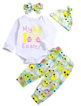Newborn Baby Boy Girl Long Sleeve Bunny Chick Print Romper +Pants +Hat +Headhand 4Pcs Set 3-6 Months