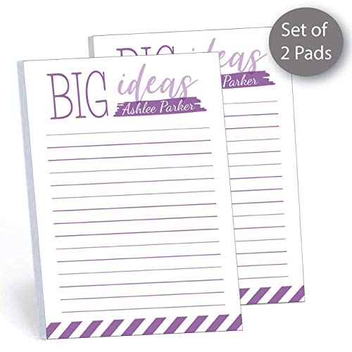 """Big Ideas Set of 2 Personalized Memo Pads/Notepads, 2 pads - 50 sheets per pad. 4"""" x 5.5"""". Made in the USA."""