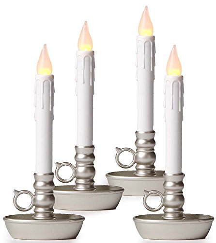Set of 4 AA Battery Operated Window LED Candle Lamps, Auto Timer, Long Lasting Yellow Flame Bulbs Never Need Replacing, Plastic Construction, Home Accents Holiday Lights, Pewter Base, 9 1/2 H